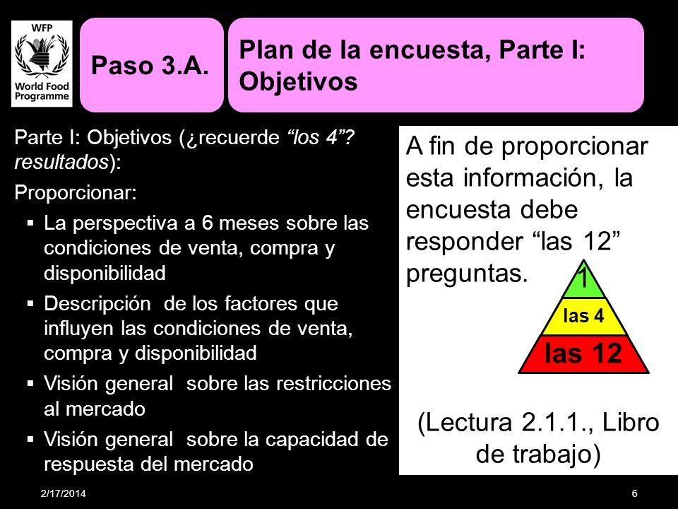 Parte I: Objetivos (¿recuerde los 4? resultados): Proporcionar: La perspectiva a 6 meses sobre las condiciones de venta, compra y disponibilidad Descr