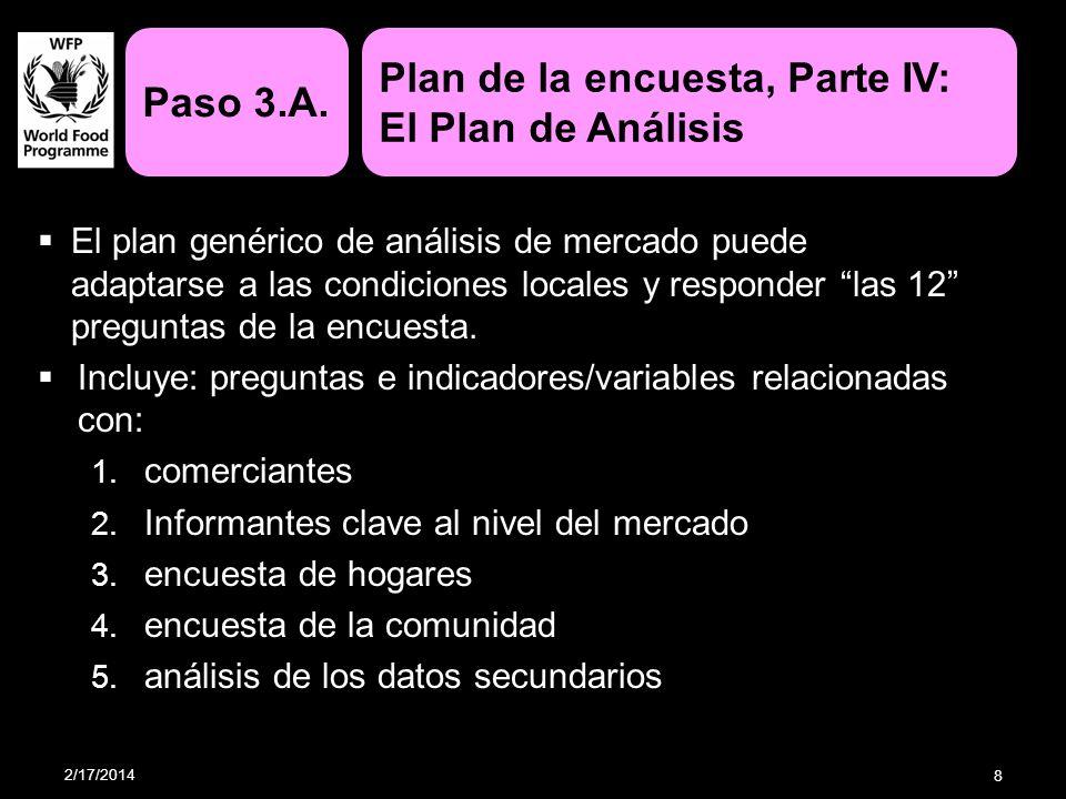 El plan genérico de análisis de mercado puede adaptarse a las condiciones locales y responder las 12 preguntas de la encuesta. Incluye: preguntas e in