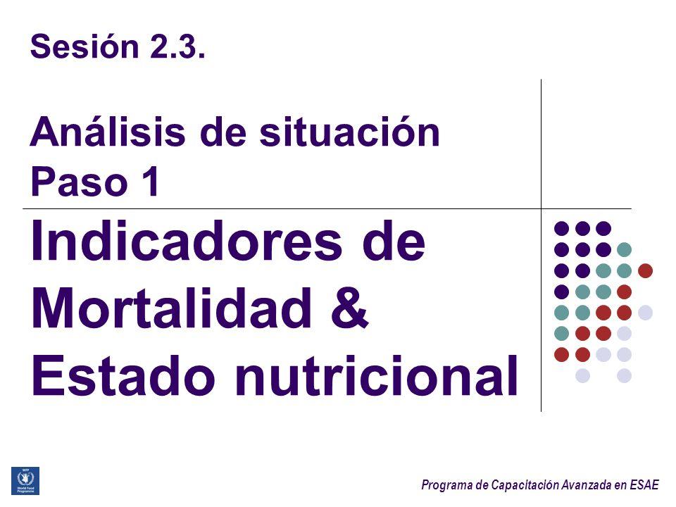 Programa de Capacitación Avanzada en ESAE 2 Objetivos de aprendizaje Después de la sesión, los participantes serán capaces de: 1.Identificar los indicadores clave de mortalidad y desnutrición en una emergencia