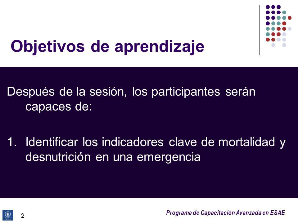 Programa de Capacitación Avanzada en ESAE 2 Objetivos de aprendizaje Después de la sesión, los participantes serán capaces de: 1.Identificar los indic
