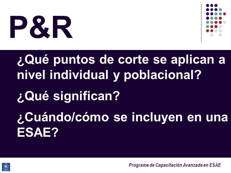 Programa de Capacitación Avanzada en ESAE P&R ¿Qué puntos de corte se aplican a nivel individual y poblacional? ¿Qué significan? ¿Cuándo/cómo se inclu
