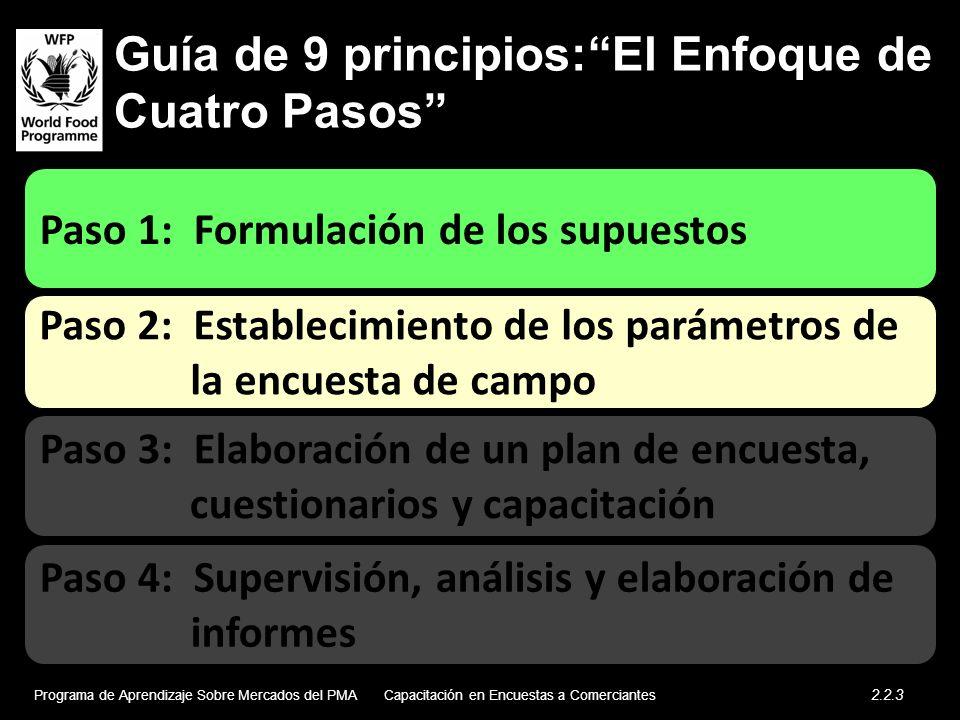 Guía de 9 principios:El Enfoque de Cuatro Pasos Paso 2: Establecimiento de los parámetros de la encuesta de campo Paso 1: Formulación de los supuestos Paso 4: Supervisión, análisis y elaboración de informes Paso 3: Elaboración de un plan de encuesta, cuestionarios y capacitación Programa de Aprendizaje Sobre Mercados del PMA 2.2.3 Capacitación en Encuestas a Comerciantes