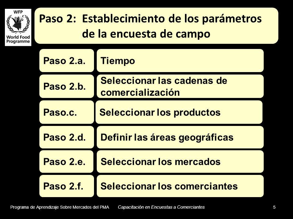 Programa de Aprendizaje Sobre Mercados del PMA Capacitación en Encuestas a Comerciantes 5 Seleccionar los productos Tiempo Seleccionar las cadenas de comercialización Definir las áreas geográficas Seleccionar los mercados Seleccionar los comerciantes Paso.c.
