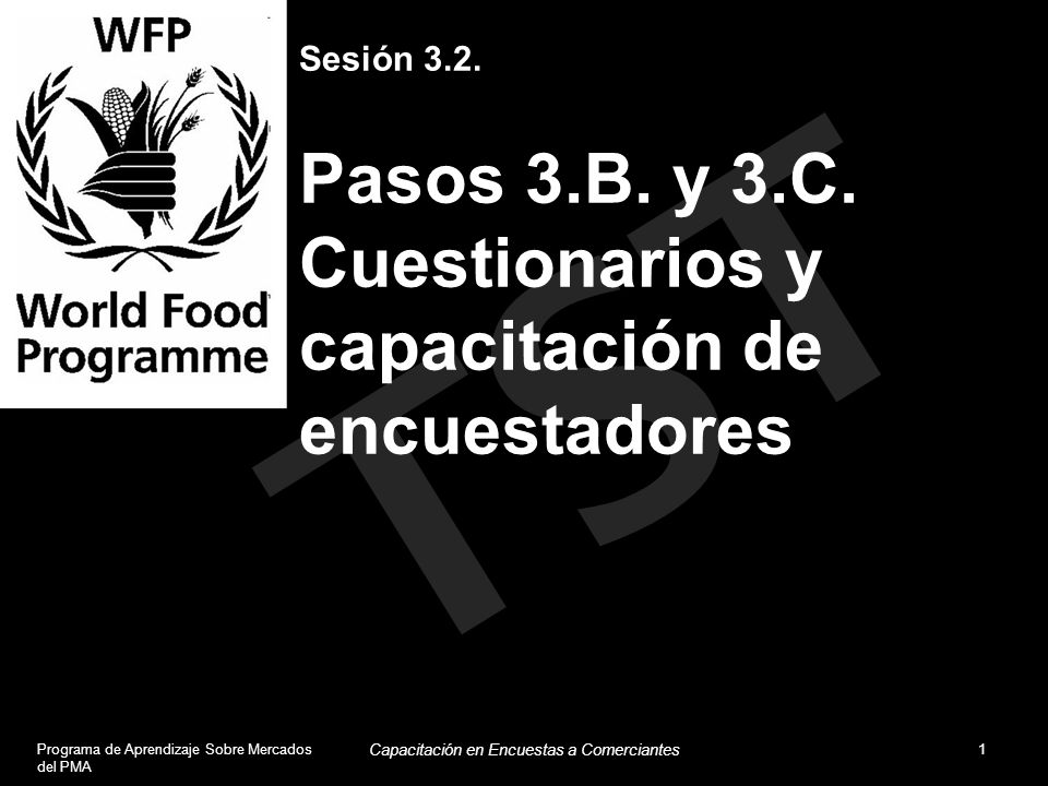 TST Sesión 3.2. Pasos 3.B. y 3.C. Cuestionarios y capacitación de encuestadores Programa de Aprendizaje Sobre Mercados del PMA 1 Capacitación en Encue