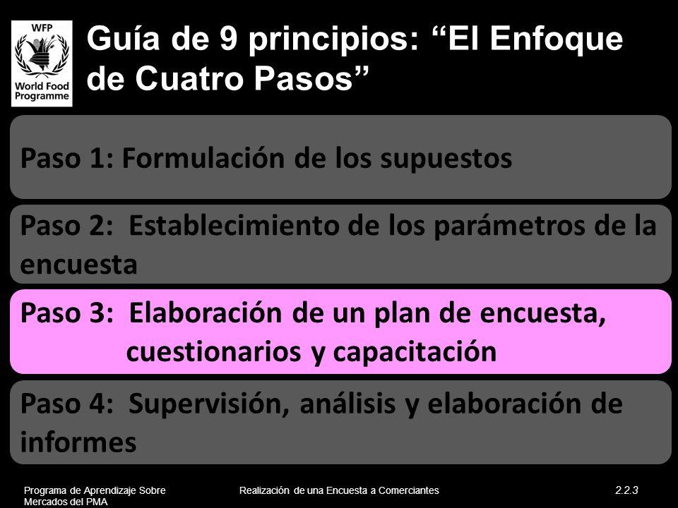Guía de 9 principios: El Enfoque de Cuatro Pasos Paso 2: Establecimiento de los parámetros de la encuesta Paso 1: Formulación de los supuestos Paso 4: