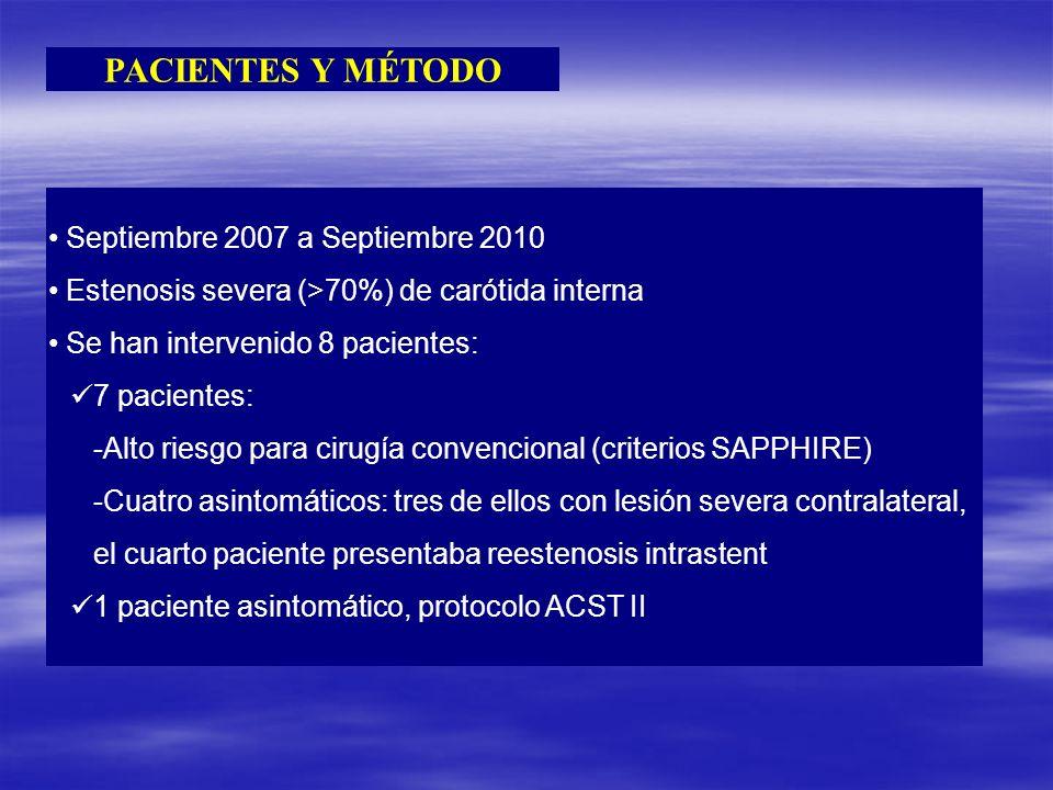 PACIENTES Y MÉTODO Septiembre 2007 a Septiembre 2010 Estenosis severa (>70%) de carótida interna Se han intervenido 8 pacientes: 7 pacientes: -Alto ri