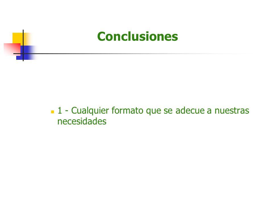 Conclusiones 1 - Cualquier formato que se adecue a nuestras necesidades