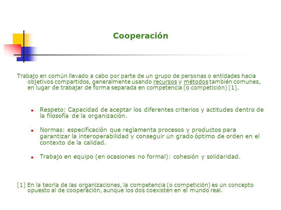 Cooperación Trabajo en común llevado a cabo por parte de un grupo de personas o entidades hacia objetivos compartidos, generalmente usando recursos y