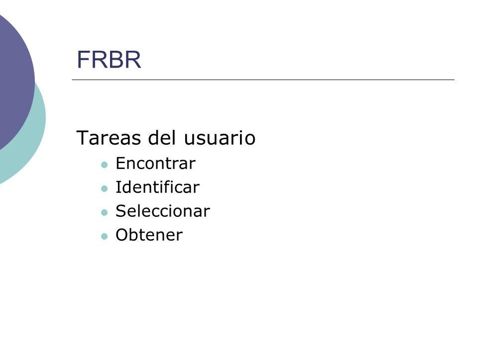 FRBR Tareas del usuario Encontrar Identificar Seleccionar Obtener