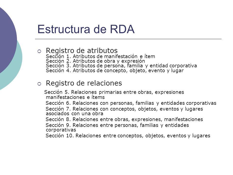 Estructura de RDA Registro de atributos Sección 1. Atributos de manifestación e ítem Sección 2. Atributos de obra y expresión Sección 3. Atributos de