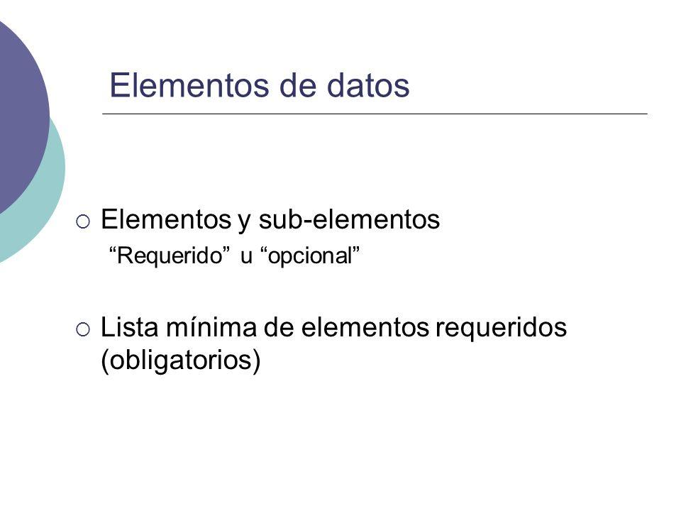 Elementos de datos Elementos y sub-elementos Requerido u opcional Lista mínima de elementos requeridos (obligatorios)