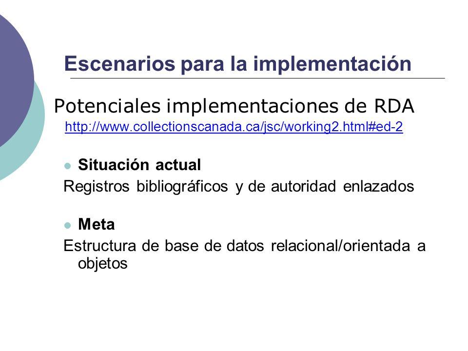 Escenarios para la implementación Potenciales implementaciones de RDA http://www.collectionscanada.ca/jsc/working2.html#ed-2 Situación actual Registro
