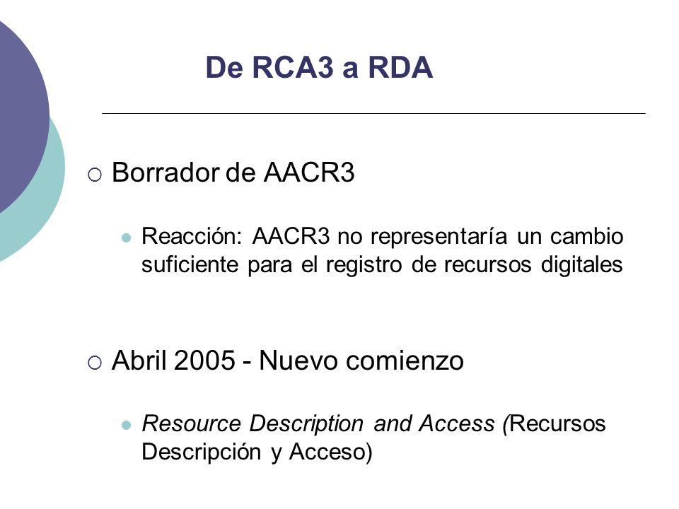 De RCA3 a RDA Borrador de AACR3 Reacción: AACR3 no representaría un cambio suficiente para el registro de recursos digitales Abril 2005 - Nuevo comien