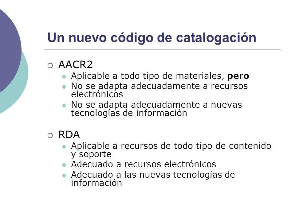 Un nuevo código de catalogación AACR2 Aplicable a todo tipo de materiales, pero No se adapta adecuadamente a recursos electrónicos No se adapta adecua