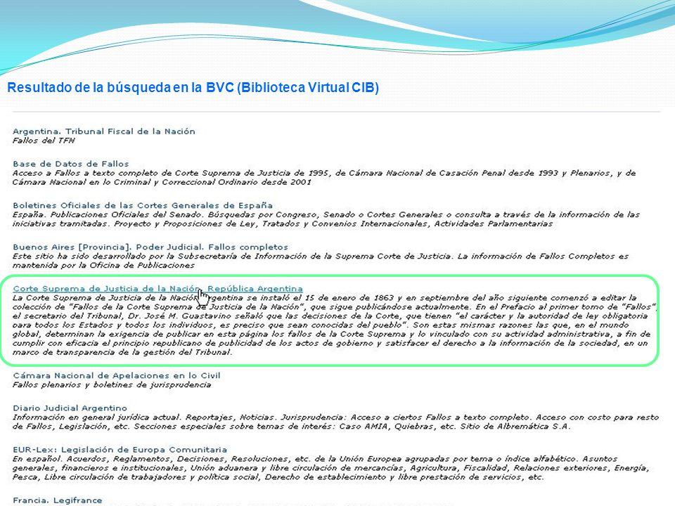 Resultado de la búsqueda en la BVC (Biblioteca Virtual CIB)