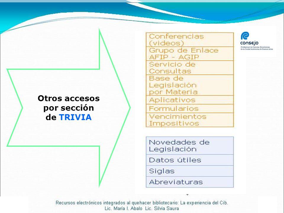 Otros accesos por sección de TRIVIA