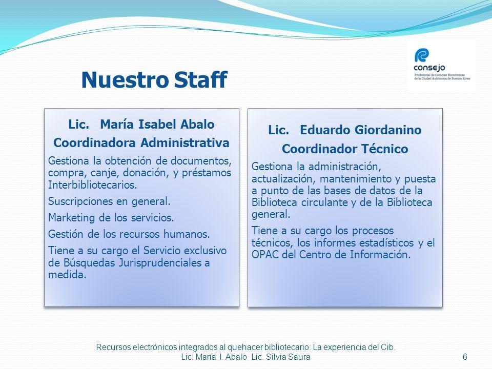 Nuestro Staff Lic. Lic. María Isabel Abalo Coordinadora Administrativa Gestiona la obtención de documentos, compra, canje, donación, y préstamos Inter