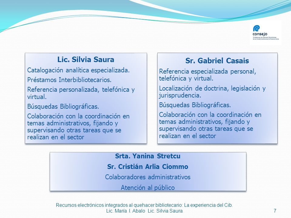 Recursos electrónicos integrados al quehacer bibliotecario: La experiencia del Cib. Lic. María I. Abalo Lic. Silvia Saura 7 Lic. Silvia Saura Cataloga
