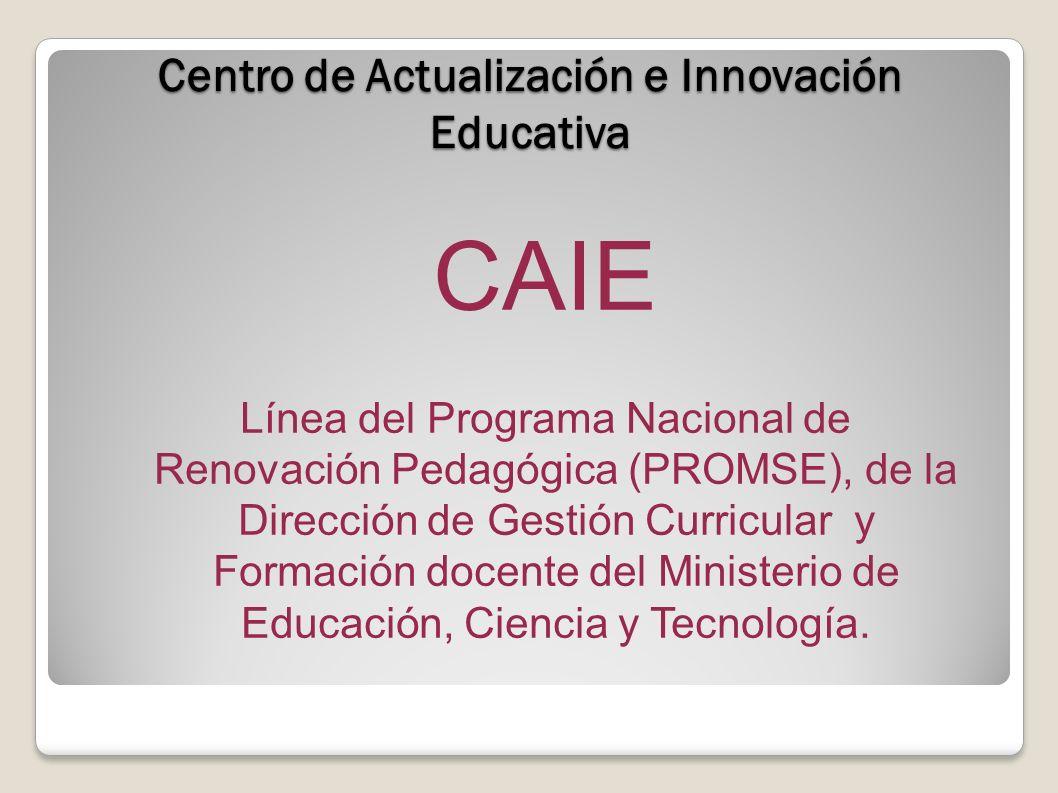 Centro de Actualización e Innovación Educativa CAIE Línea del Programa Nacional de Renovación Pedagógica (PROMSE), de la Dirección de Gestión Curricular y Formación docente del Ministerio de Educación, Ciencia y Tecnología.