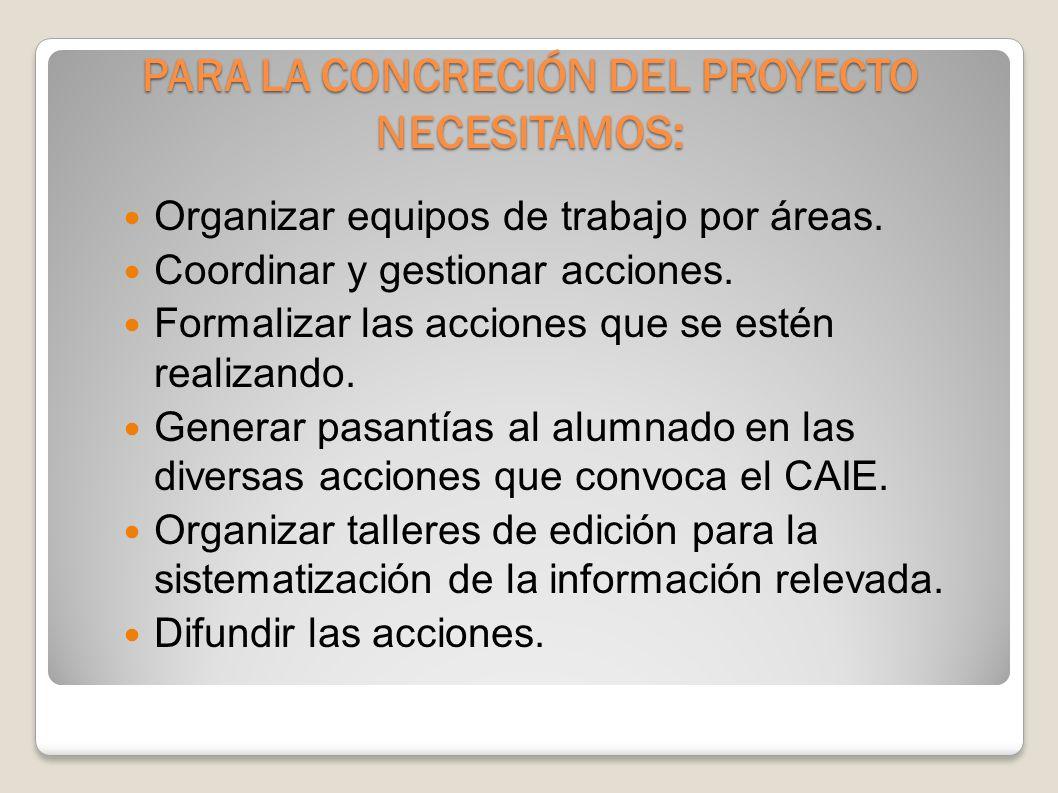 Etapas previstas para el proyecto CAIE PRIMERA ETAPA 2007SEGUNDA ETAPA 2008/09 INSTITUCIONALIZACIÒN DEL CAIE ACCIONES HACIA EL INTERIOR Y EL EXTERIOR