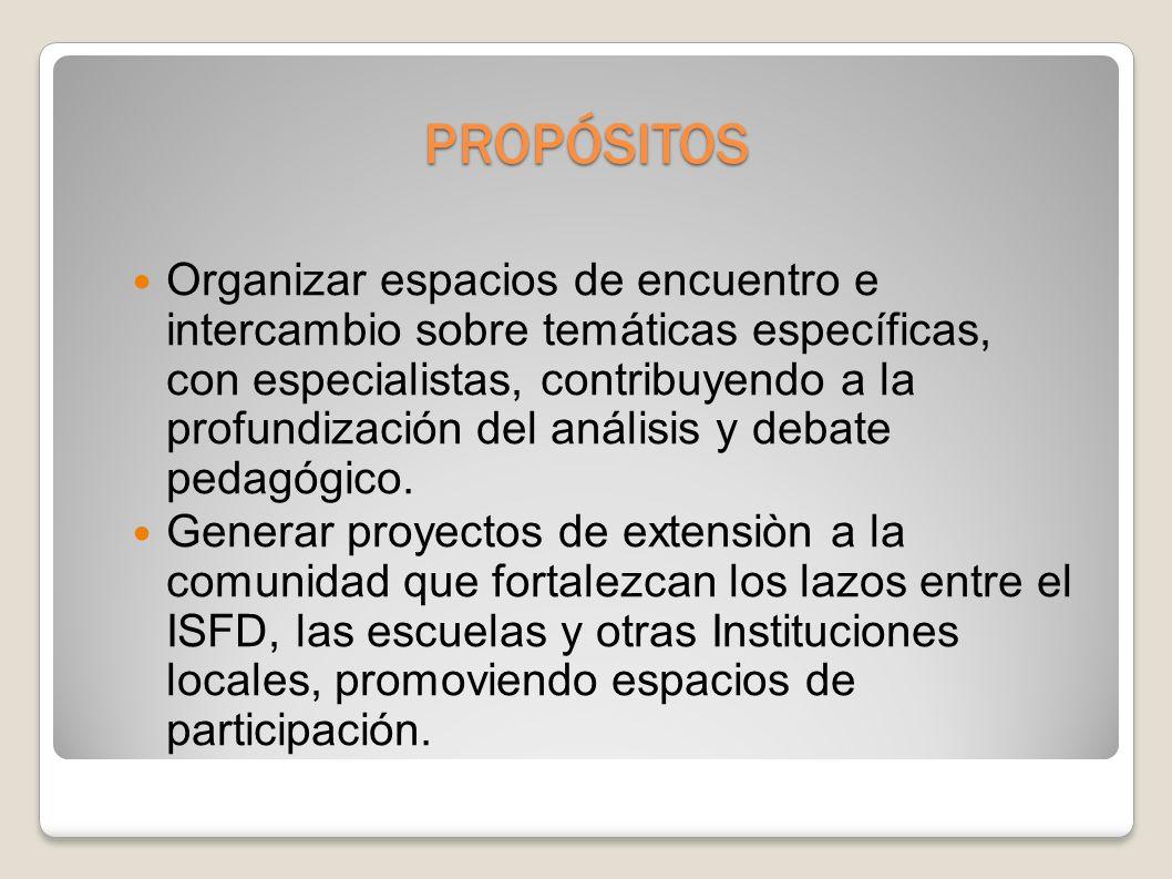 PROPÓSITOS Organizar espacios de encuentro e intercambio sobre temáticas específicas, con especialistas, contribuyendo a la profundización del análisis y debate pedagógico.