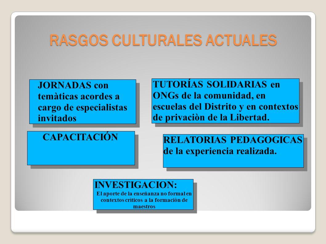 Línea 1: CONFLICTIVIDAD SOCIOCULTURAL Y ALTERNATIVAS DIALÓGICAS Rasgos culturales actuales: espacios y referentes, prácticas y representaciones sociales, circulación de saberes.