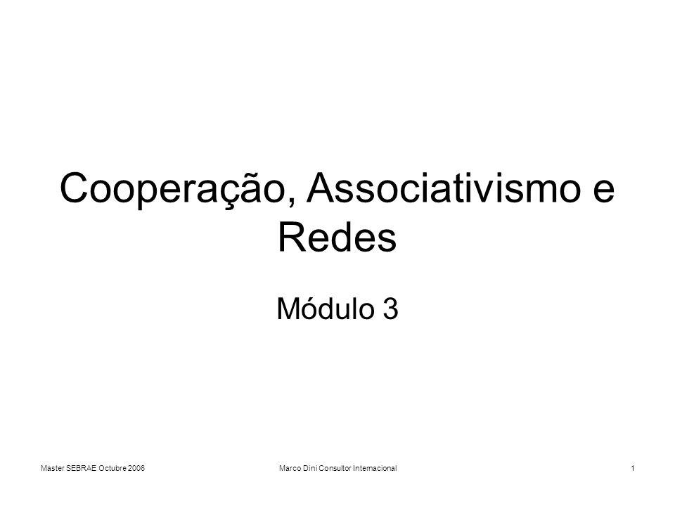 Master SEBRAE Octubre 2006Marco Dini Consultor Internacional1 Cooperação, Associativismo e Redes Módulo 3