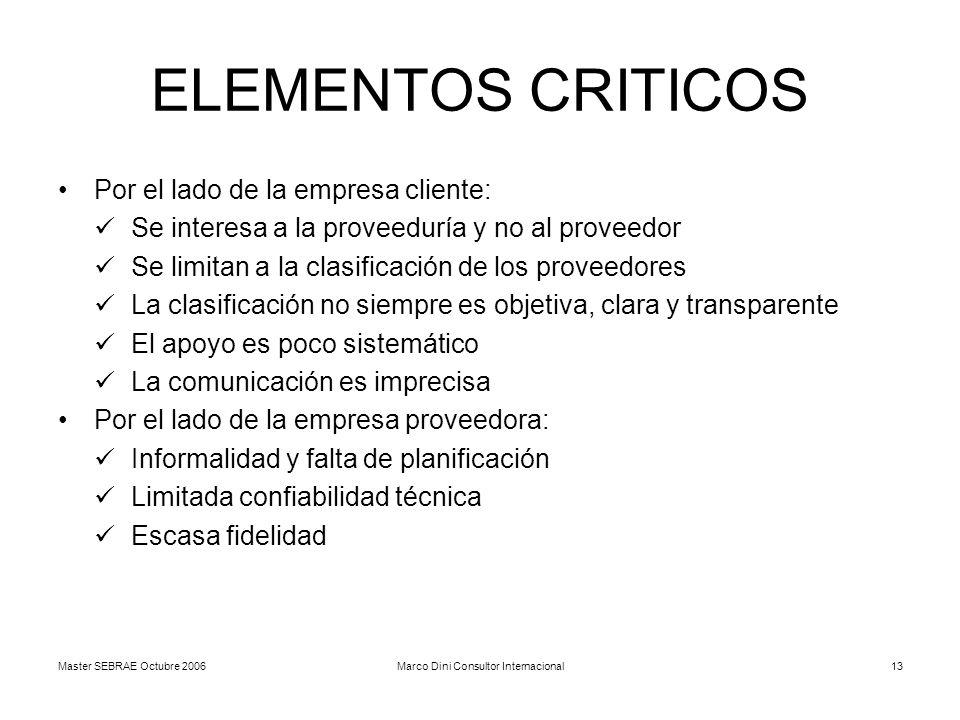 Master SEBRAE Octubre 2006Marco Dini Consultor Internacional13 ELEMENTOS CRITICOS Por el lado de la empresa cliente: Se interesa a la proveeduría y no