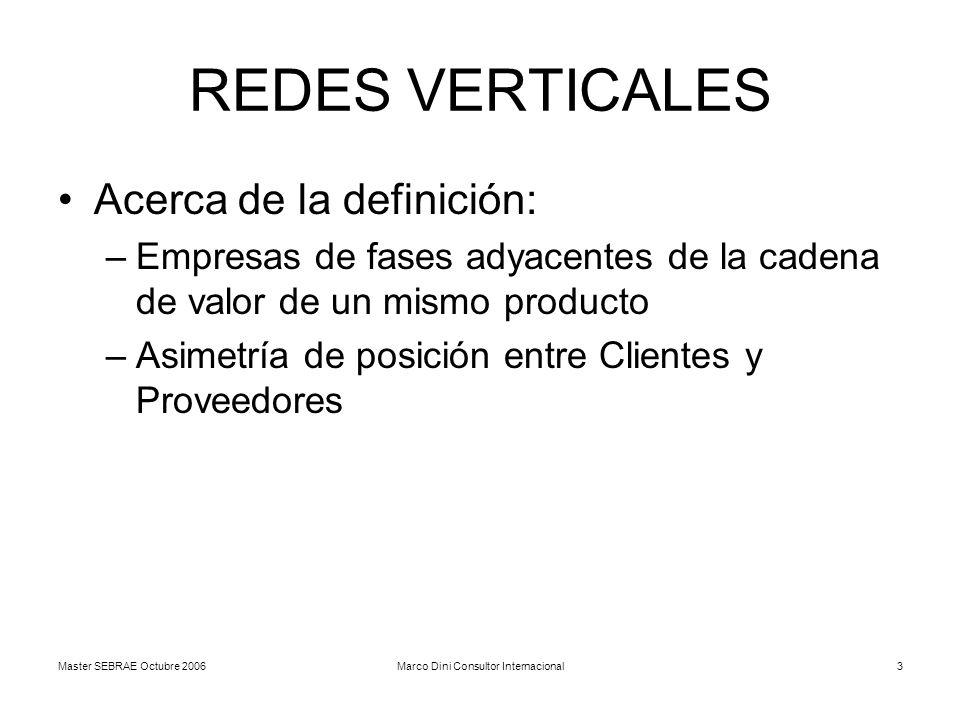 Master SEBRAE Octubre 2006Marco Dini Consultor Internacional3 REDES VERTICALES Acerca de la definición: –Empresas de fases adyacentes de la cadena de