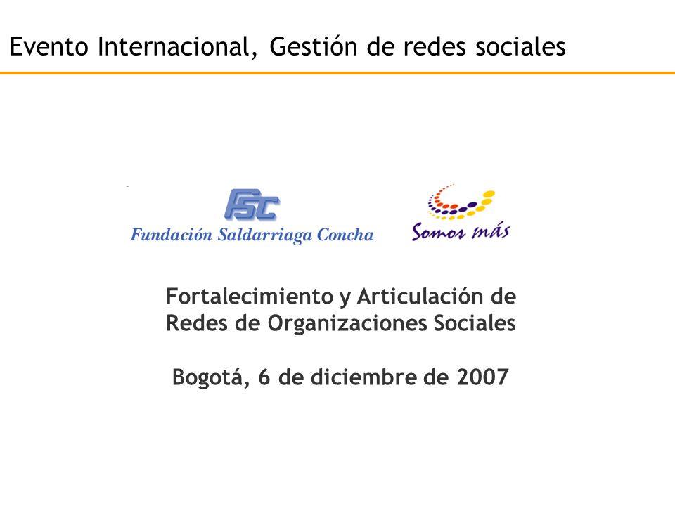 Evento Internacional, Gestión de redes sociales Fortalecimiento y Articulación de Redes de Organizaciones Sociales Bogotá, 6 de diciembre de 2007