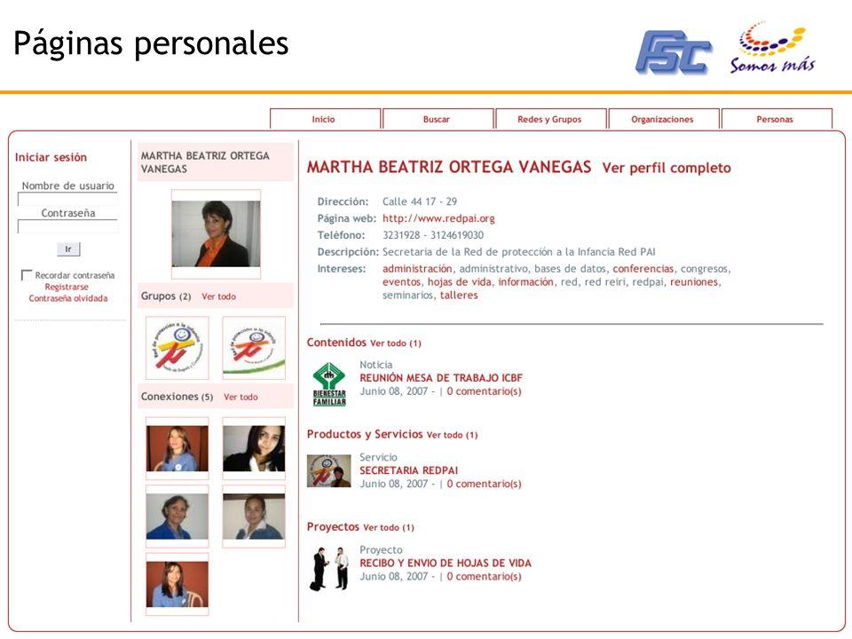 2007 - Corporación Somos Más - www.somosmas.org Páginas personales