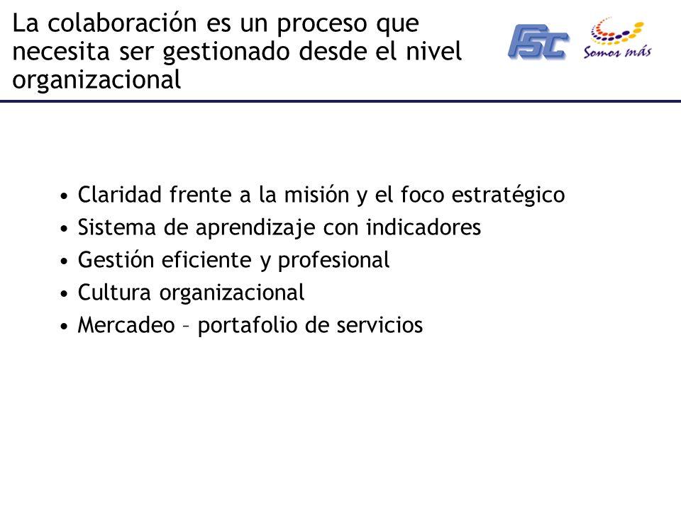 La colaboración es un proceso que necesita ser gestionado desde el nivel organizacional Claridad frente a la misión y el foco estratégico Sistema de aprendizaje con indicadores Gestión eficiente y profesional Cultura organizacional Mercadeo – portafolio de servicios
