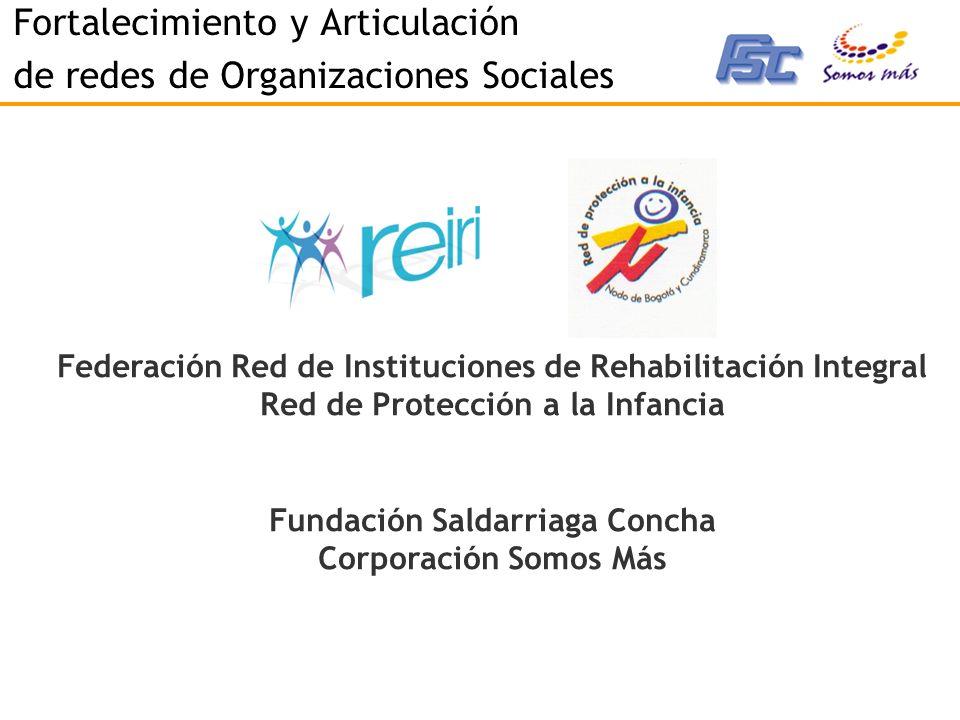 Fortalecimiento y Articulación de redes de Organizaciones Sociales Federación Red de Instituciones de Rehabilitación Integral Red de Protección a la Infancia Fundación Saldarriaga Concha Corporación Somos Más
