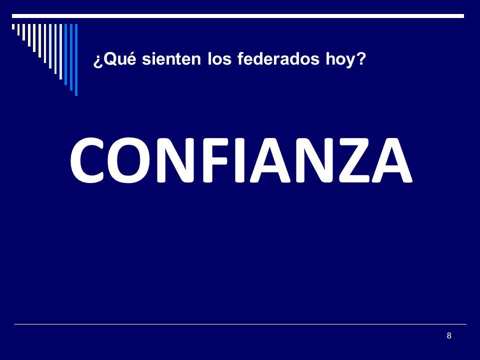 8 ¿Qué sienten los federados hoy? CONFIANZA