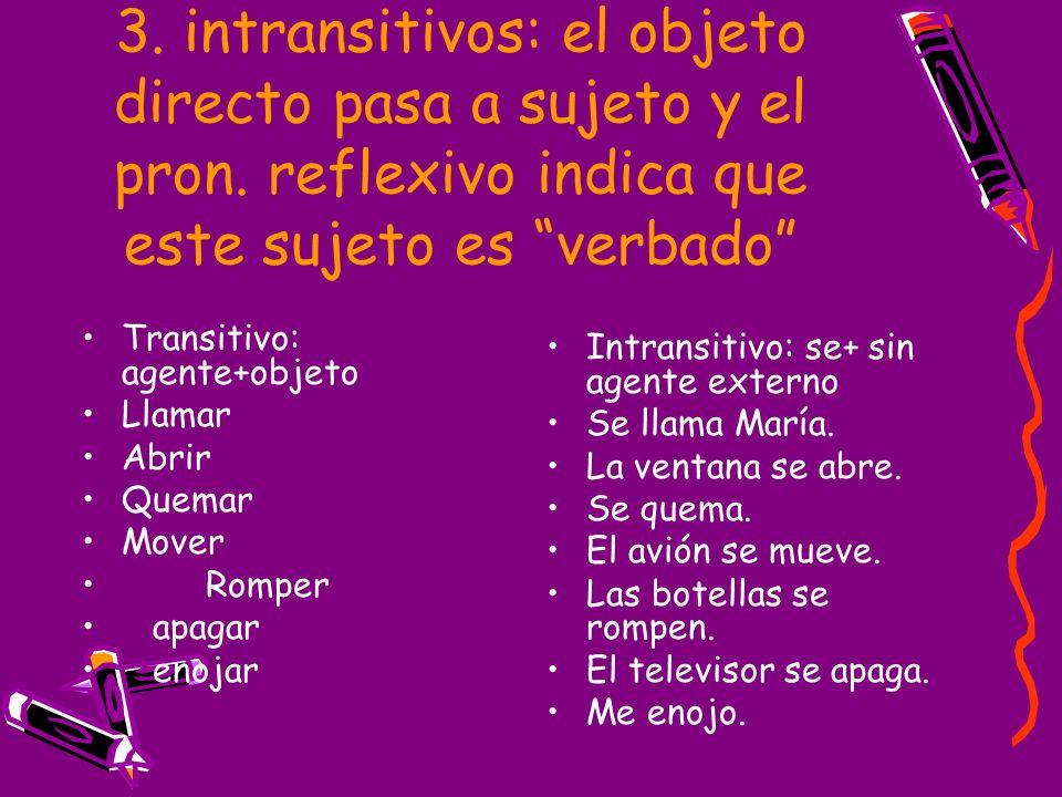 3. intransitivos: el objeto directo pasa a sujeto y el pron. reflexivo indica que este sujeto es verbado Transitivo: agente+objeto Llamar Abrir Quemar