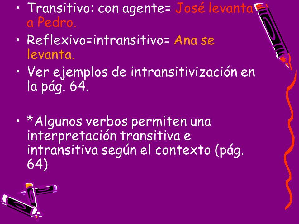 Transitivo: con agente= José levanta a Pedro. Reflexivo=intransitivo= Ana se levanta. Ver ejemplos de intransitivización en la pág. 64. *Algunos verbo