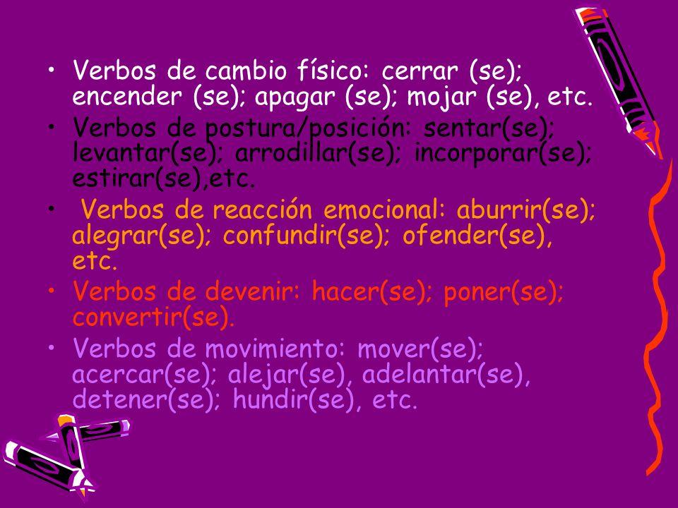 Verbos de cambio físico: cerrar (se); encender (se); apagar (se); mojar (se), etc. Verbos de postura/posición: sentar(se); levantar(se); arrodillar(se
