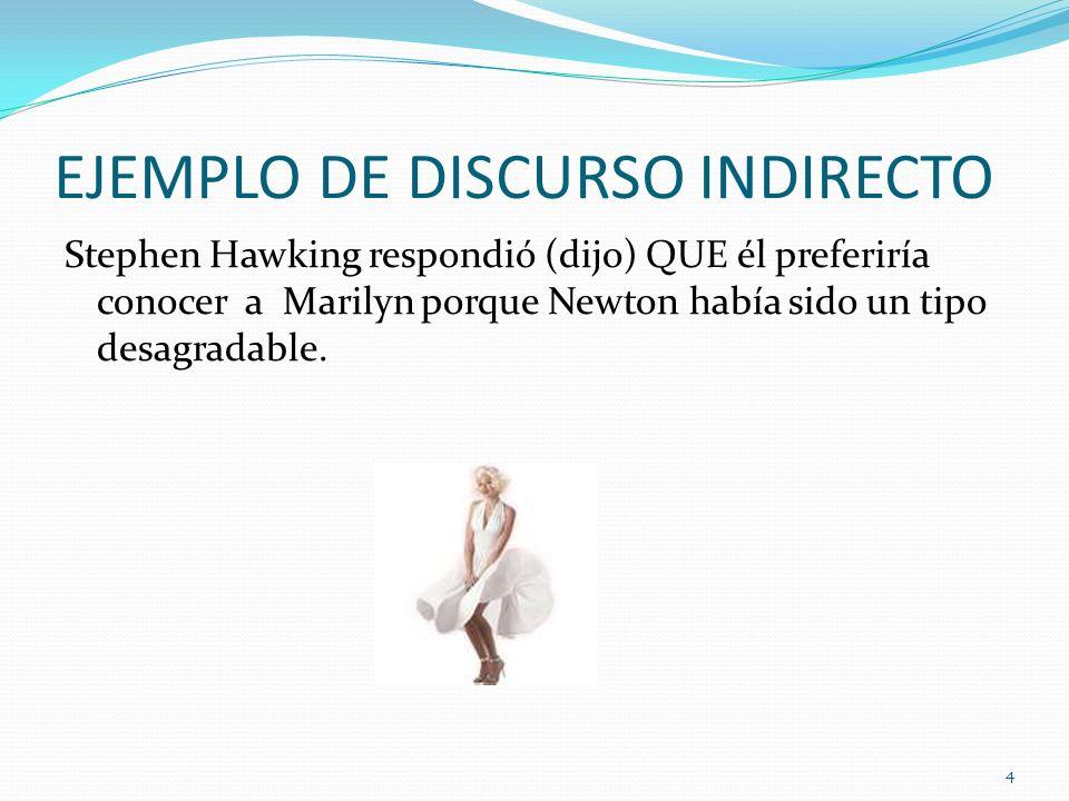 ¿QUÉ PASA CUANDO EL DISCURSO DIRECTO SE TRANSFORMA EN DISCURSO INDIRECTO.