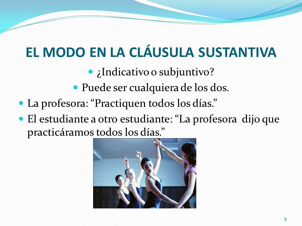 EL MODO EN LA CLÁUSULA SUSTANTIVA ¿Indicativo o subjuntivo.