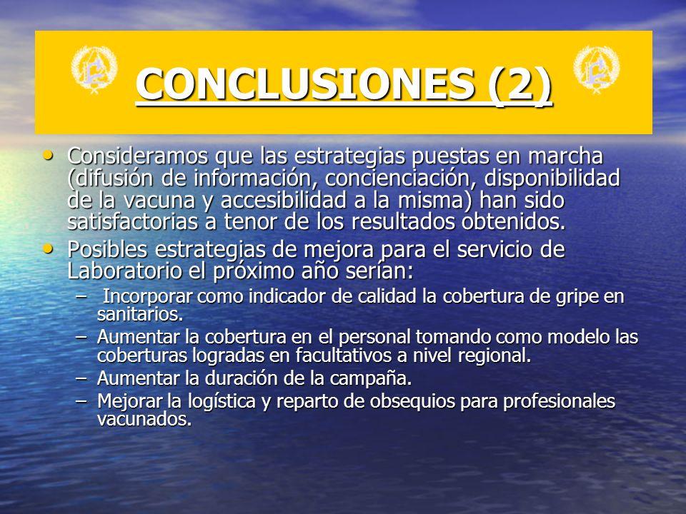 CONCLUSIONES (2) Consideramos que las estrategias puestas en marcha (difusión de información, concienciación, disponibilidad de la vacuna y accesibili