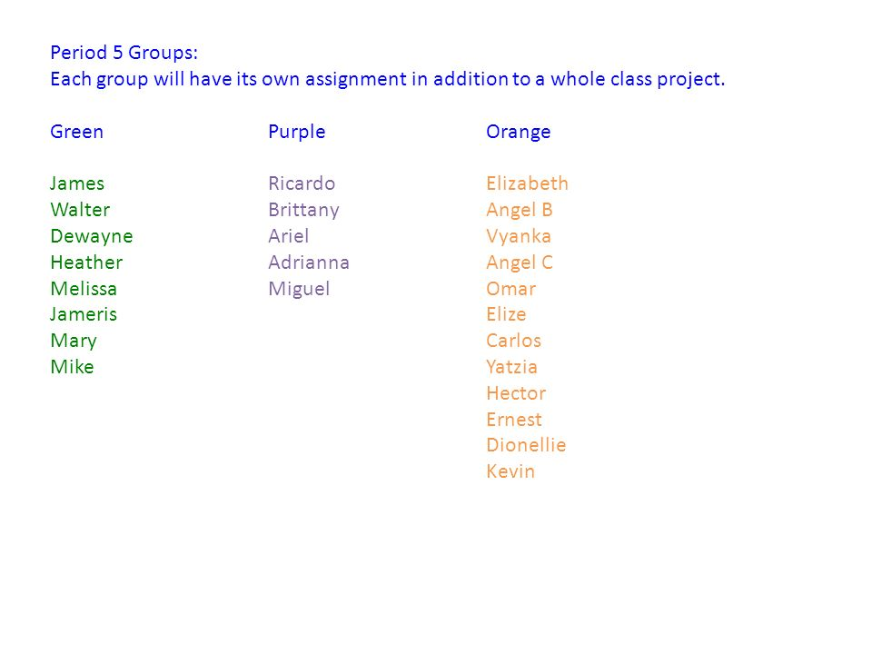 Period 5 Groups: Each group will have its own assignment in addition to a whole class project.