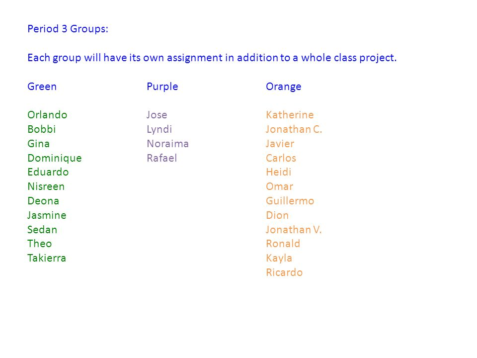 Period 6 Groups: Each group will have its own assignment in addition to a whole class project.