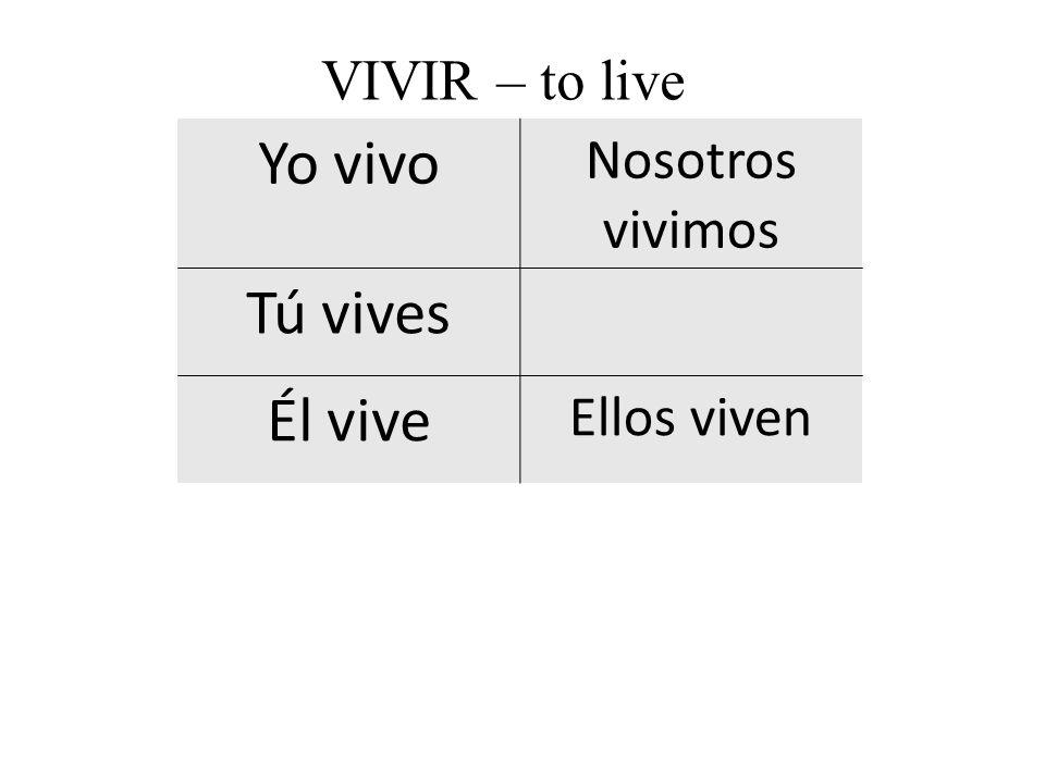 Yo vivo Nosotros vivimos Tú vives Él vive Ellos viven VIVIR – to live
