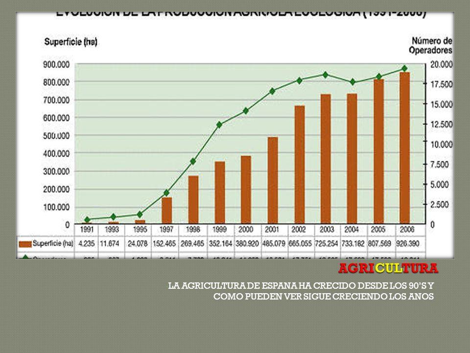 LA AGRICULTURA DE ESPANA HA CRECIDO DESDE LOS 90S Y COMO PUEDEN VER SIGUE CRECIENDO LOS ANOS