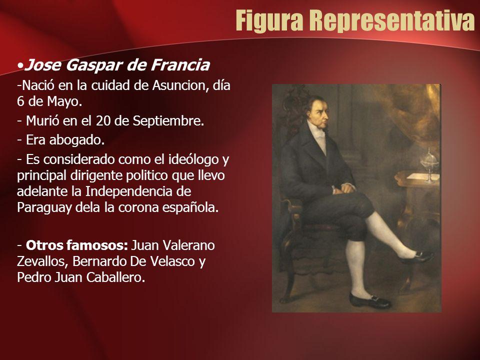 Figura Representativa Jose Gaspar de Francia -Nació en la cuidad de Asuncion, día 6 de Mayo. - Murió en el 20 de Septiembre. - Era abogado. - Es consi