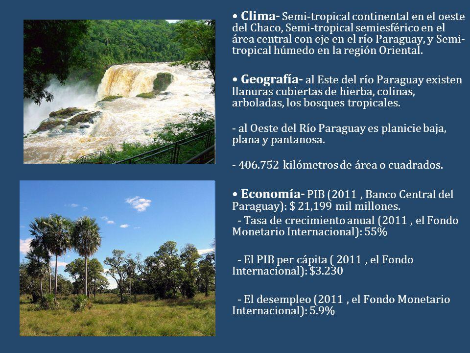 Clima- Semi-tropical continental en el oeste del Chaco, Semi-tropical semiesférico en el área central con eje en el río Paraguay, y Semi- tropical húm