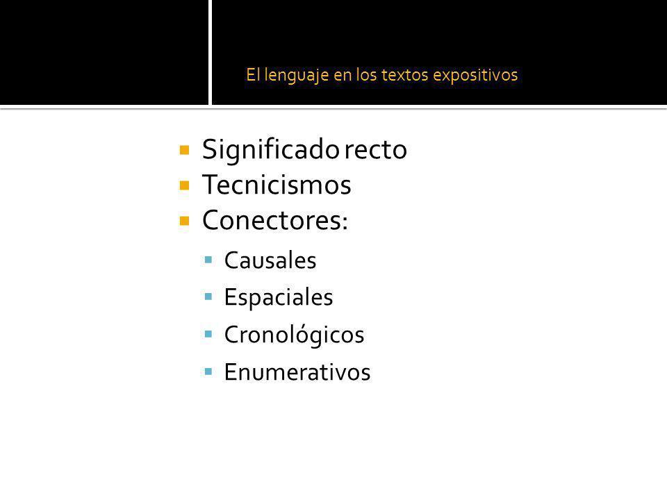 El lenguaje en los textos expositivos Significado recto Tecnicismos Conectores: Causales Espaciales Cronológicos Enumerativos
