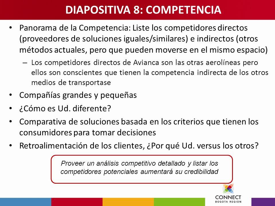 Panorama de la Competencia: Liste los competidores directos (proveedores de soluciones iguales/similares) e indirectos (otros métodos actuales, pero q