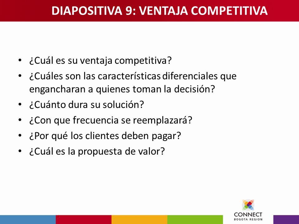 ¿Cuál es su ventaja competitiva? ¿Cuáles son las características diferenciales que engancharan a quienes toman la decisión? ¿Cuánto dura su solución?