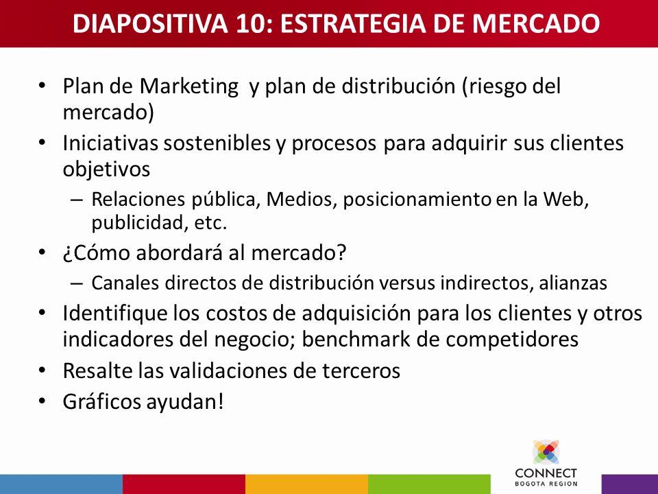 Plan de Marketing y plan de distribución (riesgo del mercado) Iniciativas sostenibles y procesos para adquirir sus clientes objetivos – Relaciones púb